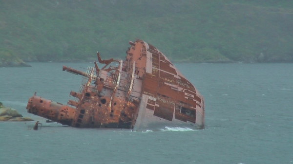 Picture by D. Dears of ship wreck, Chilean fjord