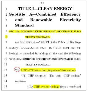 Page 10 (partial) of the Waxman - Markey, cap & trade Bill.