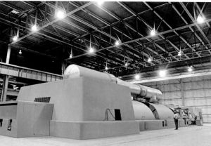 Large steam turbine and generator of the type found in coal-fired power plants.