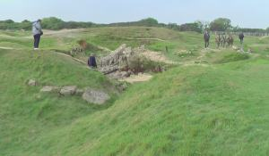 Pointe du Hoc. Shell holes and destroyed concrete bunker. Photo by D. Dears