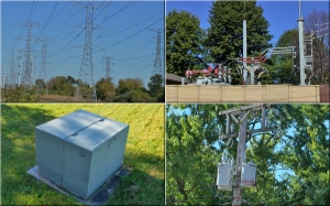 From top left clockwise, transmission lines, sub-station, overhead distribution transformers and distribution lines, underground pad mounted transformers for underground distribution. Photos by D. Dears
