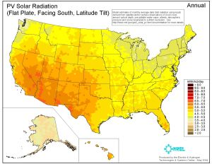 Solar Radiation Map for US. From NREL