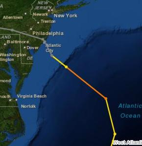 NOAA Track of Sandy. Grey Denotes Tropical Storm