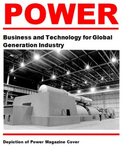 Depiction of Power magazine cover with large steam turbine generator