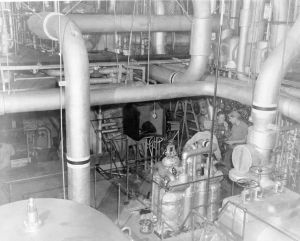 Engine Room with High and Low Pressure Turbines in Foreground. Photo by D. Dears