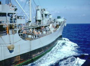 US Navy Oiler during underway replenishment. Photo by D. Dears