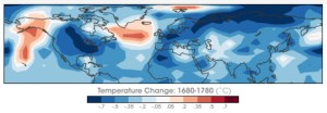 Chart from NASA of worldwide temperature differentials from normal between 1680 and 1780.