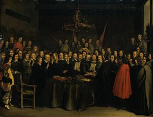 Ratification of Treaty of Munster, by Gerard Ter Borch; one of several treaties comprising the Treaty of Westphalia,. From Wikipedia.