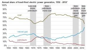 History of Electricity Generation by Fuel Type, from EIA