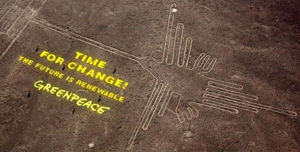 Picture of Greenpeace defiling NAZCA ruins in Peru.