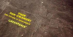 Picture of Greenpeace defiling NAZCA ruins in Peru.