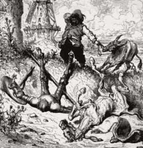 Don Quixote and his sidekick Sancho Panza after Titling at Windmill. By Gustave Dore.