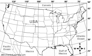 U.S. Map with Latitudes Courtesy of Enchanted Learning