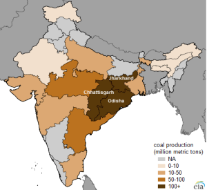 India 2012 Coal production by State, Image from EIA