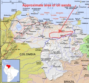 Map of Venezuela showing oil sands location