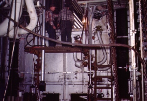 Replacing heat exchanger tubes in marine boiler. Photo by D. Dears