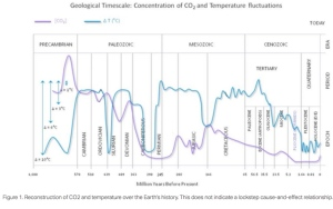 Chart from Dr. Moore's paper showing relationship between CO2 and Temperatures.
