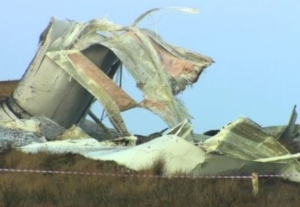338-foot-tall wind turbine collapse, Scotland, 2015, from BBC Screenshot. Debris was widespread, but no residential buildings were nearby.
