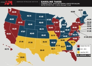 Combined federal, state and local gasoline taxes. Map from American Petroleum Institute