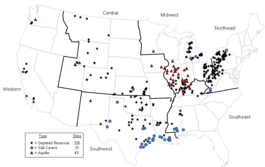 Map of natural gas storage sites in 2007, from EIA
