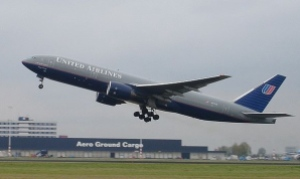 United 777 taking off. Photo from Wikipedia