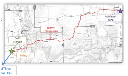 Map Of Proposed 500 Mile Transmission Line From Wyoming To Utah CAES Facility