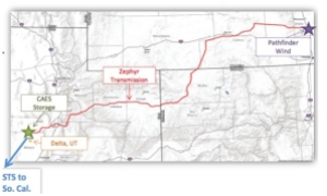Map of proposed 500 mile transmission line from Wyoming to Utah, CAES facility.