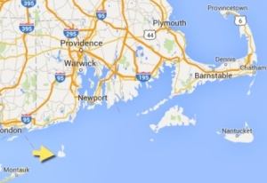 Arrow points to Block Island.