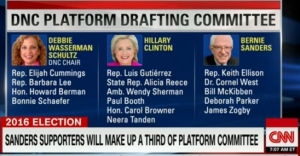 Screenshot of Democrat Platform Drafting Committee from CNN