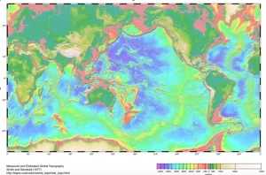 Map of world showing underwater topography from USCD