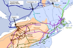 Map of Natural Gas Pipelines feeding New England, from Climate Shift